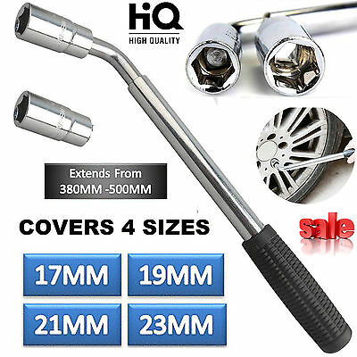 4 Size 17 19 21 & 23mm Tyre Remover Extendable Wheel Brace Car Van Socket Wrench