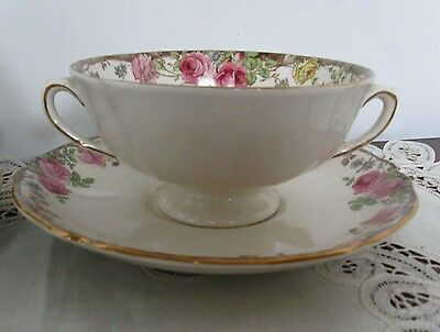 Royal Doulton ENGLISH ROSE Footed Soup Coupe and Saucer D.6071