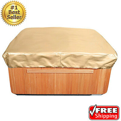Hot Tub Cover Protector 86x86in Square Outdoor Spa Jacuzzi UV Weather Proof Tan