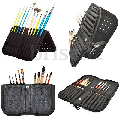 13 Slots Canvas Oil Watercolor Acrylic Gouache Brushes Paint Brushes Case Holder
