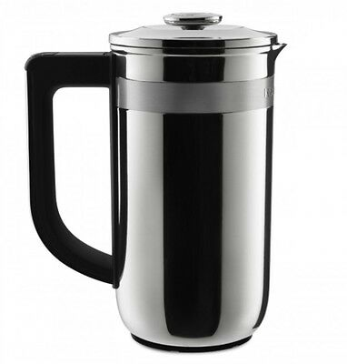 French Press Coffee Plunger Filter Maker Chrome Scale Timer Caffeine Brewer NEW
