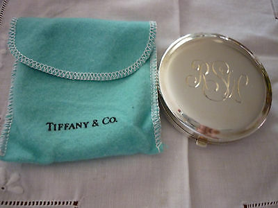Vintage 'Tiffany & Co. Sterling Silver Round Mirror Powder Compact - Monogrammed