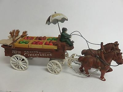 Vintage Cast Iron Toy Horse Drawn Market Wagon Vegetable Fruit Transportation 15