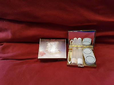S.j.s. Brass Contact Lens  Case With Mirror Vintage Boxed