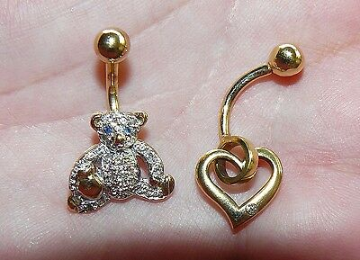 Lot of 2 yellow gold belly bars barbell navel ring. 10k diamond + 9ct gem set.