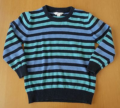 Pumpkin Patch Boys Lightweight Knit Pullover Jumper Blue Green Stripe Sz 5
