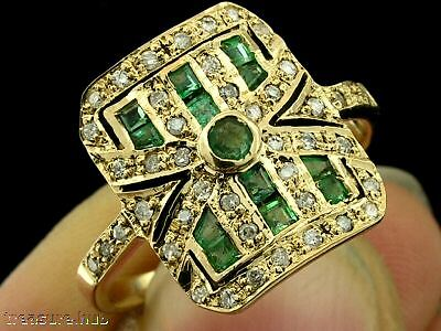 C658 Genuine 9ct Yellow Gold Natural EMERALD & DIAMOND Ring made in your size