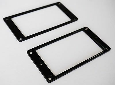 Flat Humbucker Pickup Mounting Ring Set of 2 - Black Solid Brass for Ibanez etc