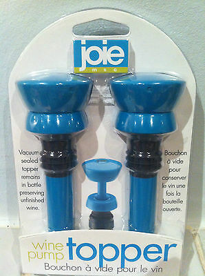 Joie Wine Saver Vacuum Pump Bottle Topper - Preserver Stopper Top - Blue 2 PACK