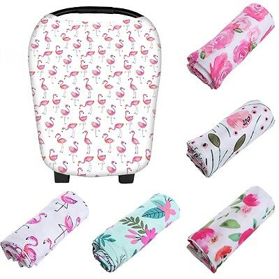 Multi-Use Stretchy Baby Infant Nursing Cover Newborn Car Seat FLOWER Cart Canopy