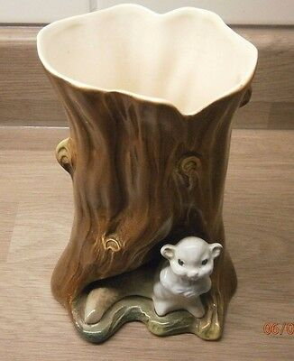 Rare Hornsea vase with a beaver in front of a tree.