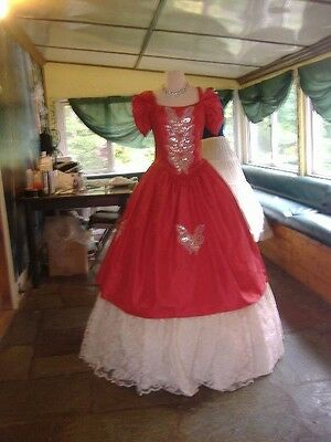 Red and White Civil War Southern Belle Ball Gown