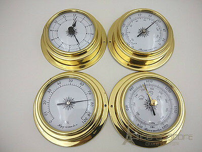 Weather Station 4 pcs/set 70mm Brass   Barometer /Thermometer/ Hygrometer /Clock