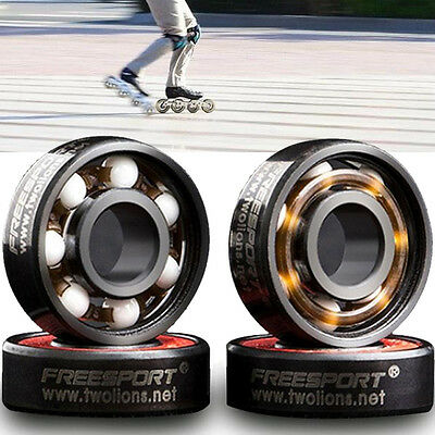 608RS Roller Skateboard Ceramic Ball Inline Skates Spare Bearings Silver !
