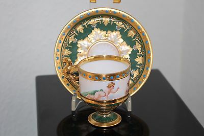 Antique Dresden Heufel&co 1891 Demitasse Cup And Saucer