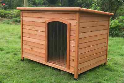 XL Pet Dog Kennel House Timber Wooden Log Cabin Wood Indoor Outdoor W Stripe