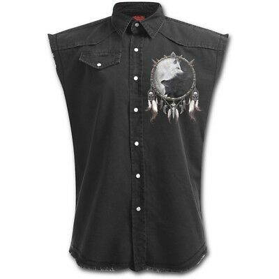 Spiral Wolf Chi Sleeveless Stone Washed Worker Black [Special Order] - Gothic,Go