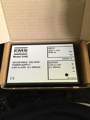 Ems Power Model 2448 Adjustable Voltage Power Supply 10-15v 2 X 500ma