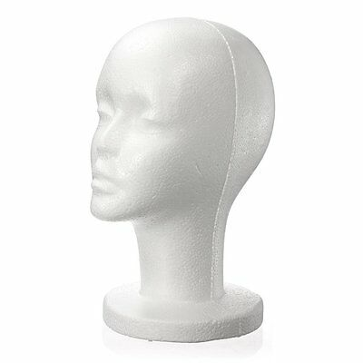 Female White Foam Styrofoam Mannequin Hat Cap Dummy Wig Head display Holder B5A4