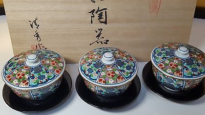 Beautiful Japanese Old Imari Set 10pcs (5 pcs teacup with lid and 5 pcs saucer)