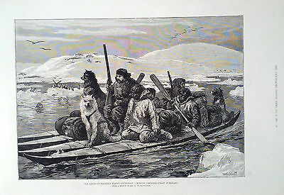 1881 Print The American Franklin Search Expedition : Crossing Simpson's Strait