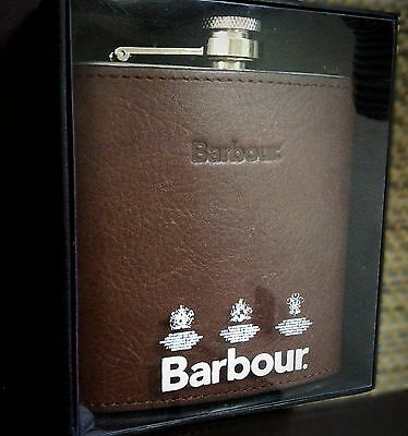 NEW LOW PRICE Authentic Barbour Hip Flask 6oz Stainless Steel / Brown Leather