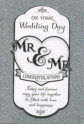 Glittery On Your Wedding Day Mr & Mr Congratulations Wedding Card 1Stp&p