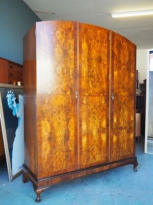Edwardian Bookmatch Veneer Large 3 Door Wardrobe UK DELIVERY AVAILABLE
