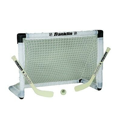 Mini Hockey Goal Sets Net 2 Sticks Ball Indoors Outdoors Glows Lightsup New Game