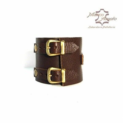 BRACCIALE IN CUOIO MARRONE POLSINO mod. Johnny Depp PARTI METALLICHE BRUNITE