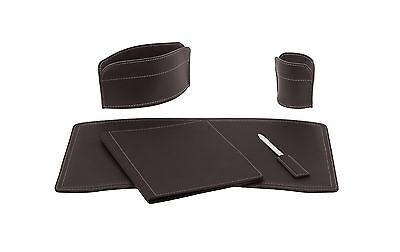 BRANDO 5: Leather Desk Kit 5 pieces, Dark Brown color, Office Desk Pad Organizer