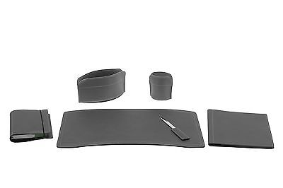 BRANDO 6: Leather Desk Kit 6 pieces, Anthracite color, Office Desk Pad Organizer