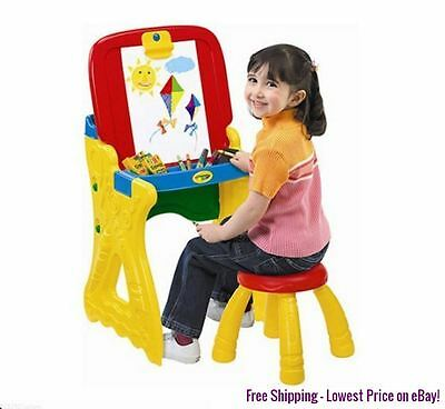 Kids Children Crayola 2-in-1 Drawing Art Table Easel Chalkboard Paper Eraser New