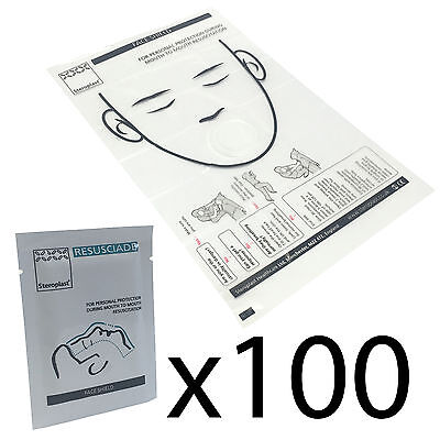 100 Packs of Steroplast Foil Packed CPR Mouth to Mouth Filter Pad Face Masks
