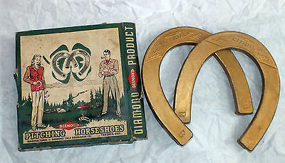 Original Diamond Pitching Horseshoes Gold 2 1/2 pounds 1 Pair B Box Outdoor Game