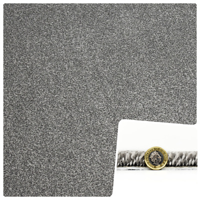 SUPER THICK 16-17mm THICK SILVER GREY Saxony Carpet £10.99sqm **FREE DELIVERY**