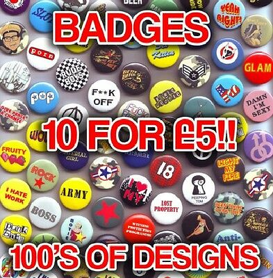 Retro Button Badges - Cool Designs Vintage Mixed Loads of Designs On Sale