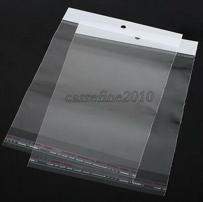 100pcs Available area 12x20cm Hang Hole Opp Bag Plastic Bags Self Adhesive Seal