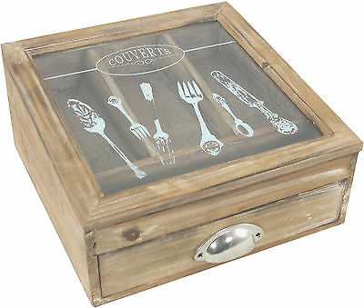 Distressed Wood And Glass Cutlery Storage Box LK846