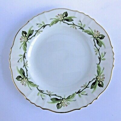"""Syracuse Westvale Bread Plate Green Leaves Branches Pink Buds Gold Trim 6-1/2"""""""