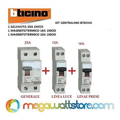 Kit Centralino Bticino  Differenziale Salvavita + 2 Interruttori Magnetot. 1 Mod