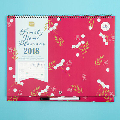 Family Home Planner Calendar runs Sept 2017 to Dec 2018 School Year Organiser