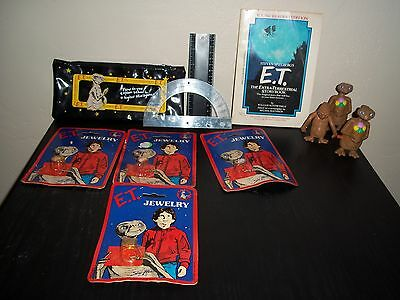 Vintage E.T. EXTRA TERRESTRIAL - Jewelry pencil bag book figures