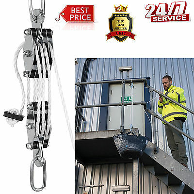 Pulley Block W/ 20 M Powerful Nylon Rope & Steel Rope Lifting Heavy Loads Garage