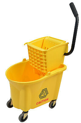 Mop Bucket Wringer Combo 26 Quart Commercial Janitorial Cleaning Supplies Wet