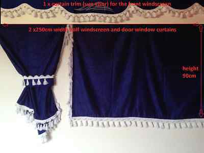Truck Side  Curtains  Blue With White Tassels -Volvo,man,daf,mercedes,scania,ive