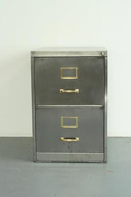 Vintage Industrial Stripped Steel 2 Drawer Filing Cabinet Brass Handles #2020