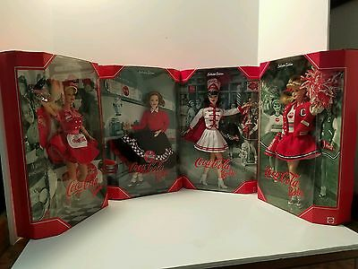 Lot of 4 Coca-Cola Barbies Cheerleader, Majorette, Sweetheart And Waitress