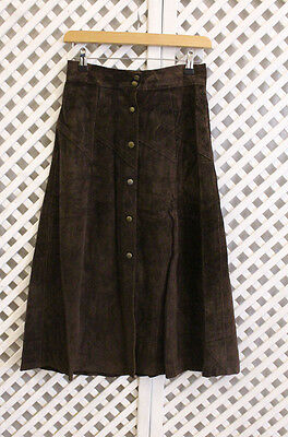 Vintage original brown suede leather high waist buttons 70s hippy midi skirt S