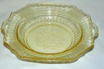 """RARE**Anchor Hocking MAYFAIR/OPEN ROSE YELLOW *6 3/4"""" BUTTER BOTTOM w/INDENT*"""